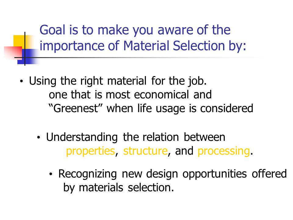 Goal is to make you aware of the importance of Material Selection by: