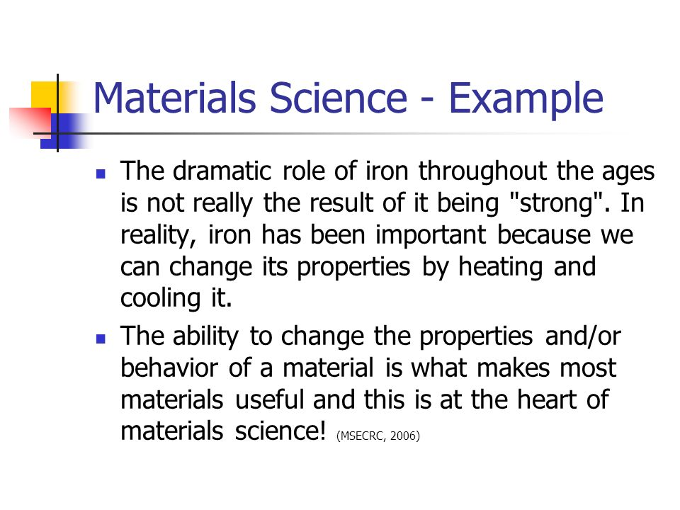 Materials Science - Example