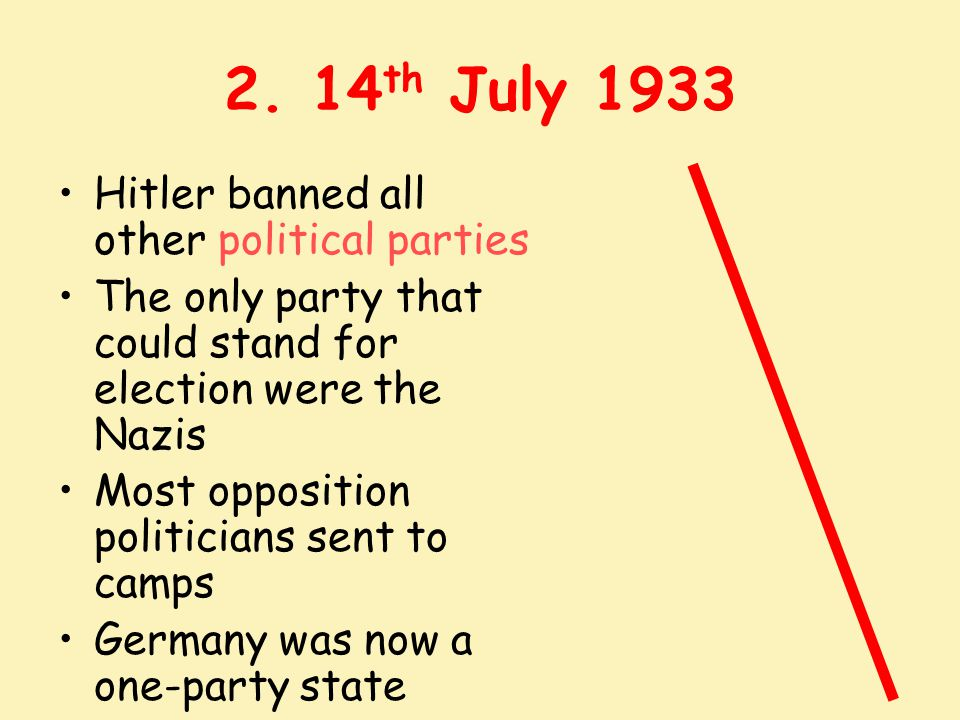 2. 14th July 1933 Hitler banned all other political parties