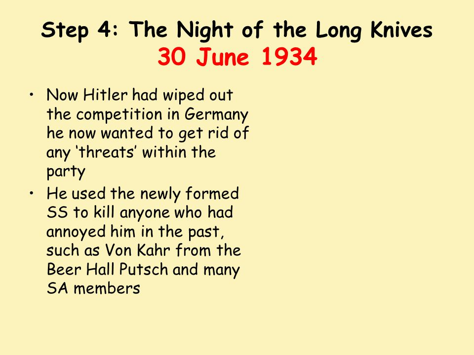 Step 4: The Night of the Long Knives 30 June 1934
