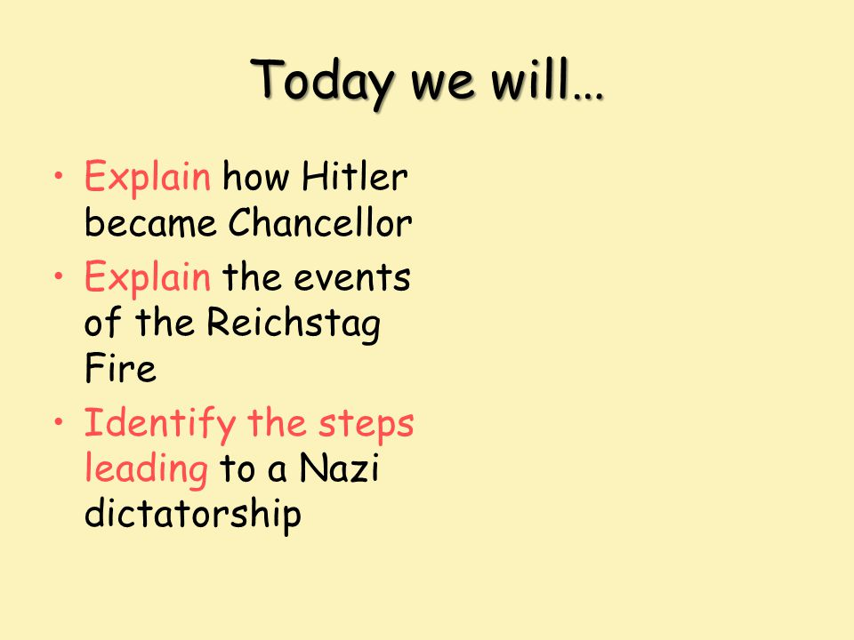 Today we will… Explain how Hitler became Chancellor