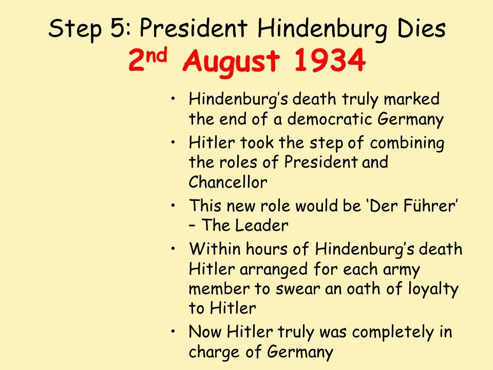 Step 5: President Hindenburg Dies 2nd August 1934