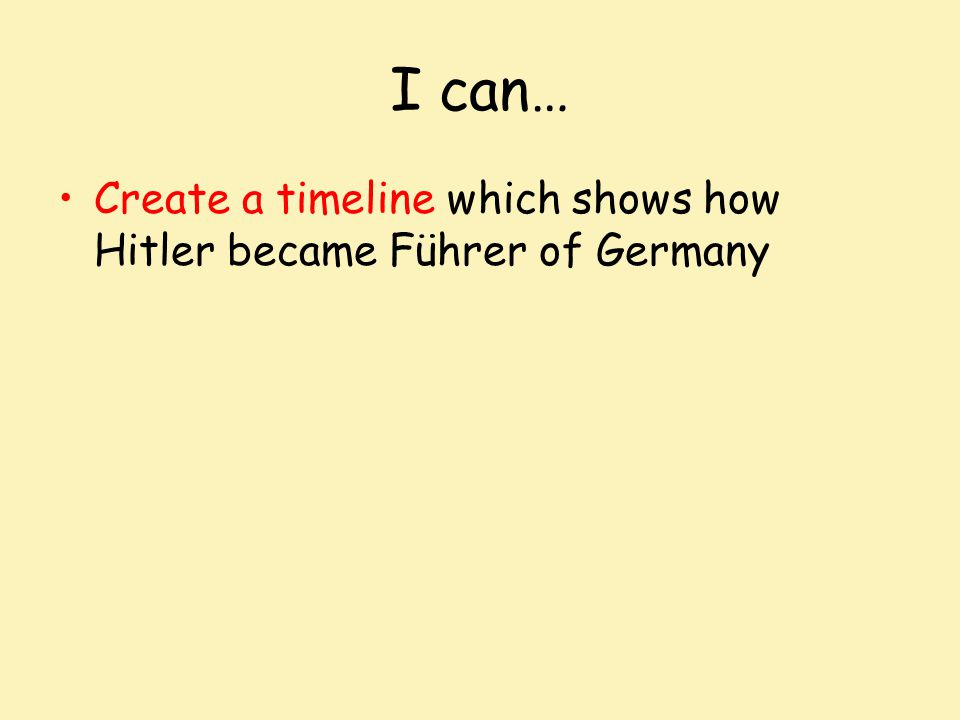 I can… Create a timeline which shows how Hitler became Führer of Germany