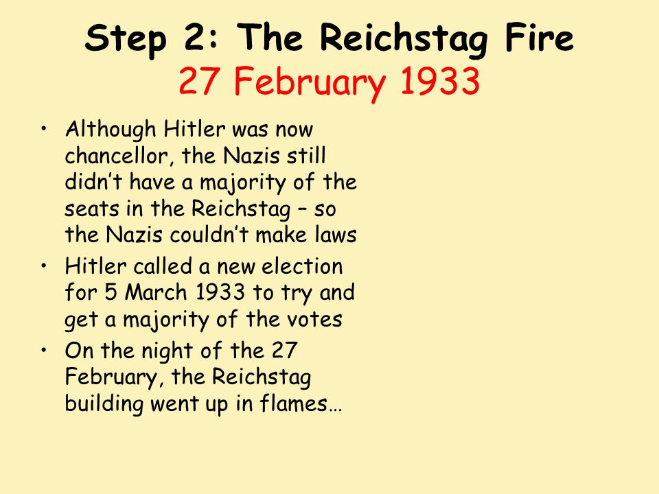 Step 2: The Reichstag Fire 27 February 1933