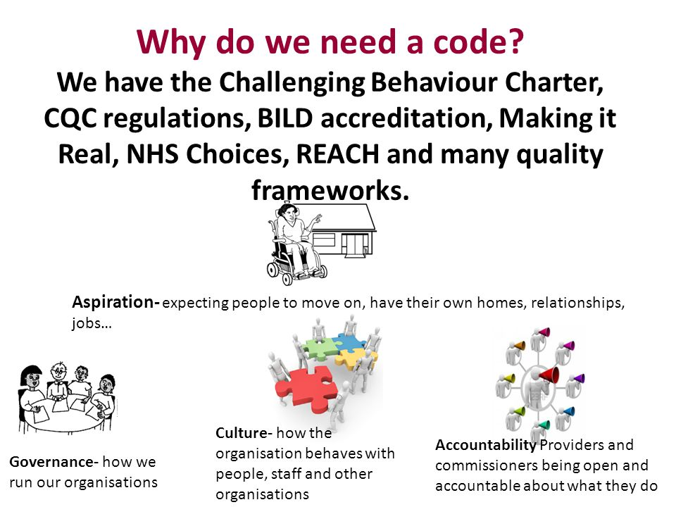 Why do we need a code We have the Challenging Behaviour Charter, CQC regulations, BILD accreditation, Making it Real, NHS Choices, REACH and many quality frameworks.