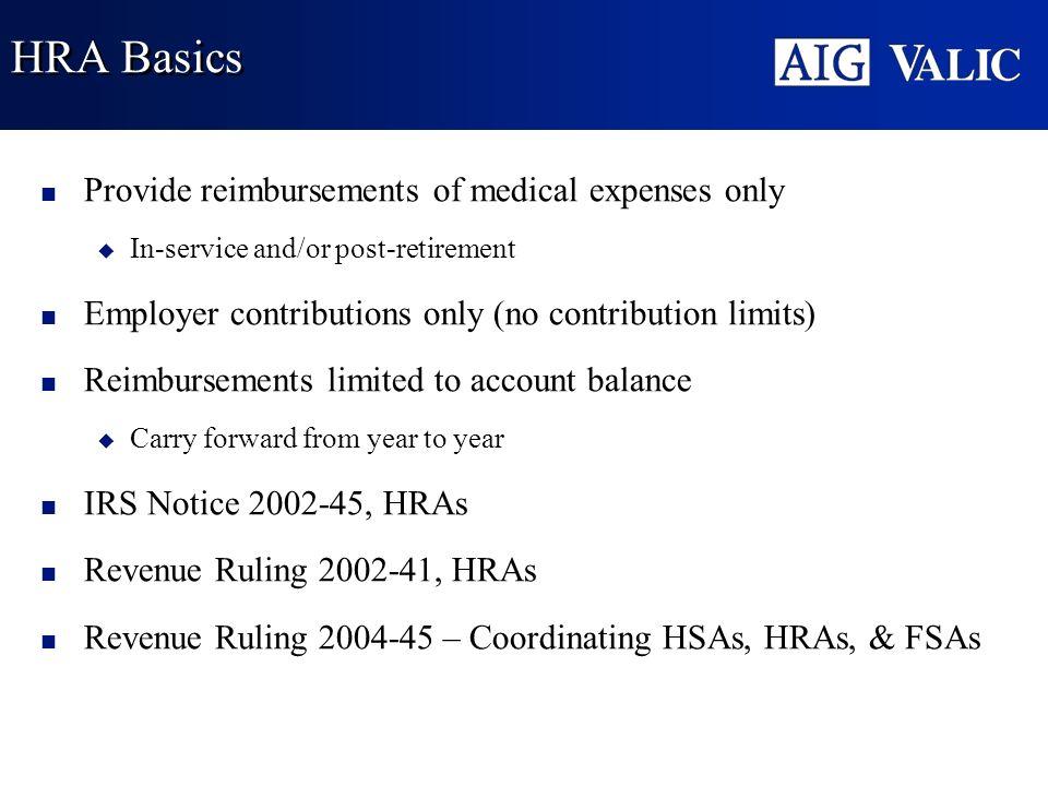 HRA Basics Provide reimbursements of medical expenses only