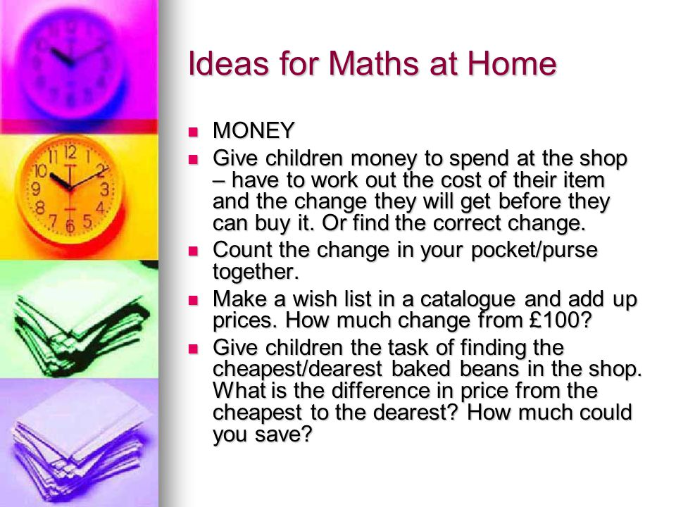 Ideas for Maths at Home MONEY