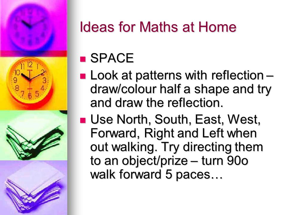 Ideas for Maths at Home SPACE