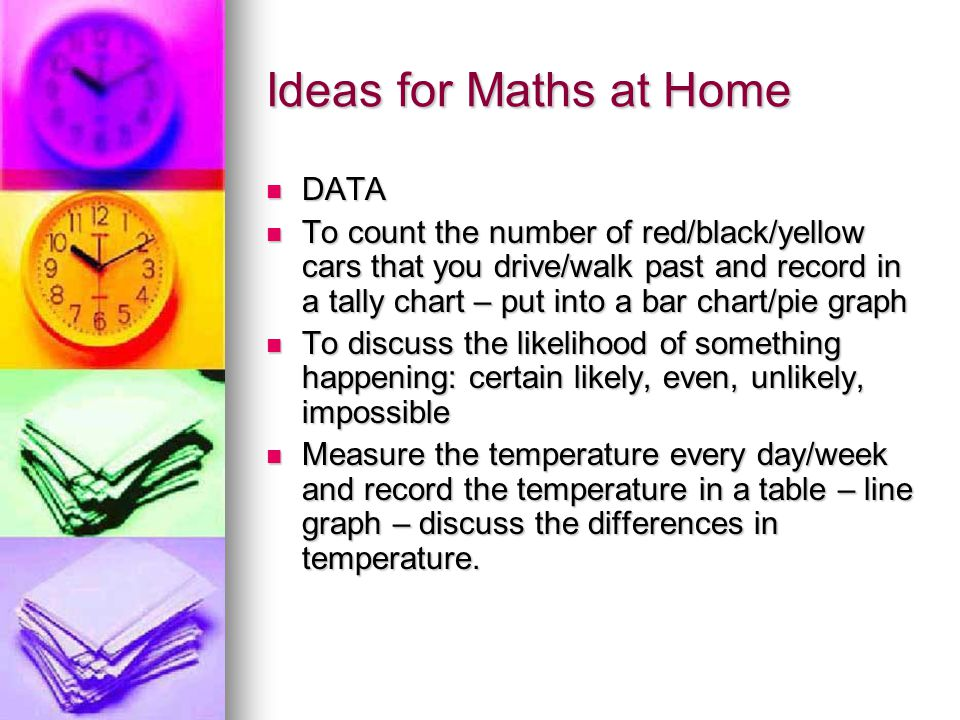 Ideas for Maths at Home DATA