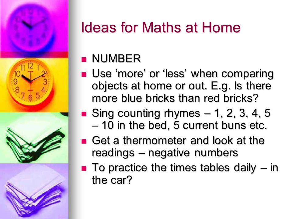 Ideas for Maths at Home NUMBER