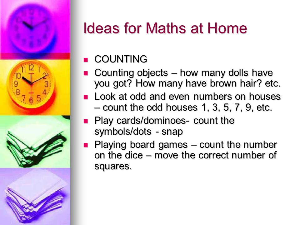 Ideas for Maths at Home COUNTING