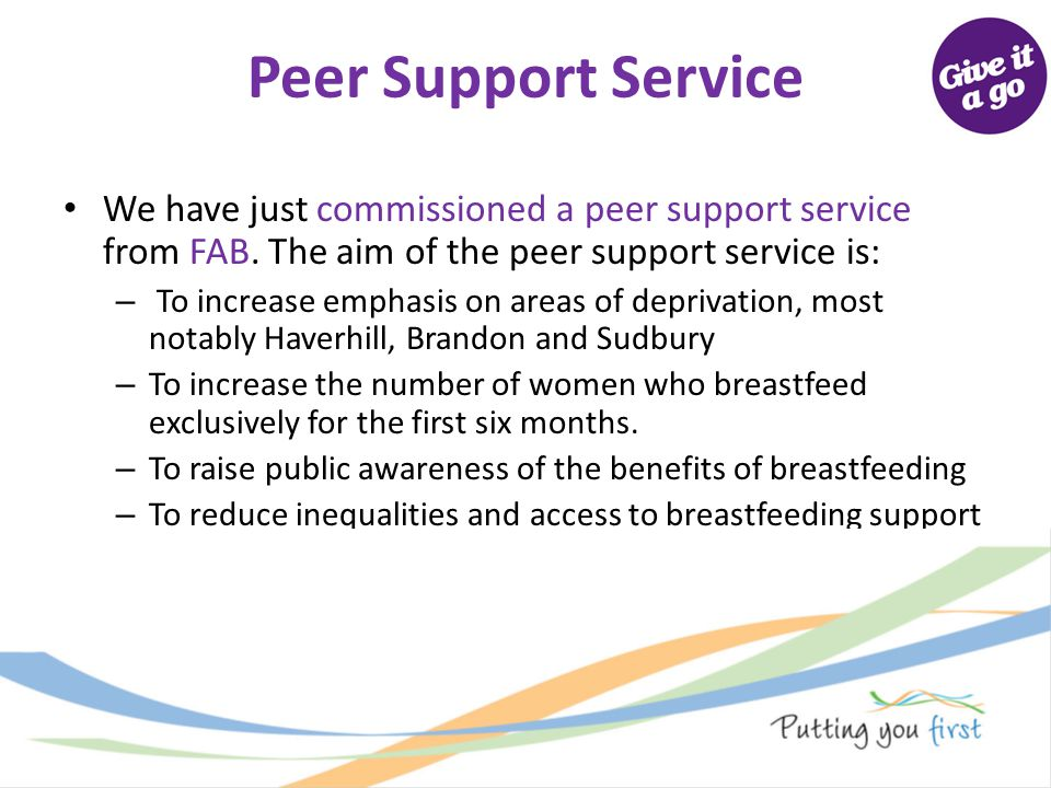 Peer Support Service We have just commissioned a peer support service from FAB. The aim of the peer support service is: