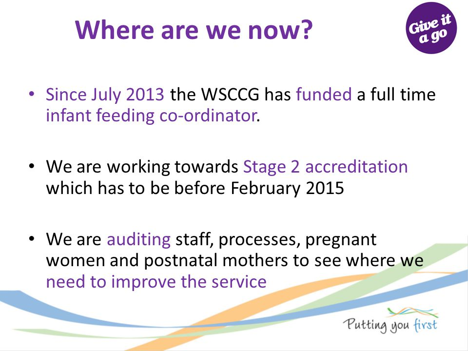 Where are we now Since July 2013 the WSCCG has funded a full time infant feeding co-ordinator.