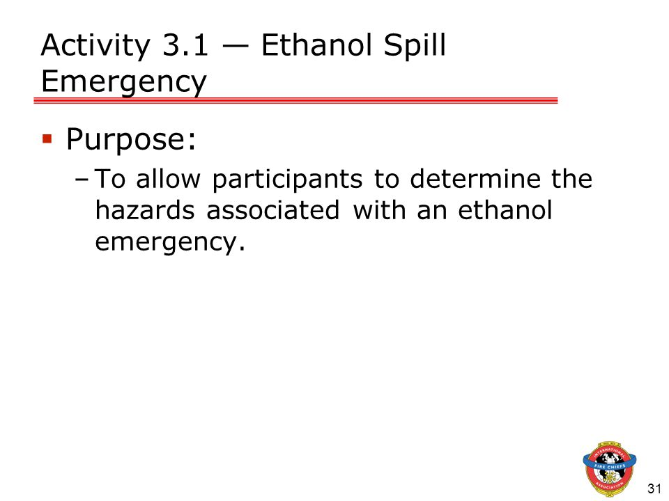 Activity 3.1 — Ethanol Spill Emergency