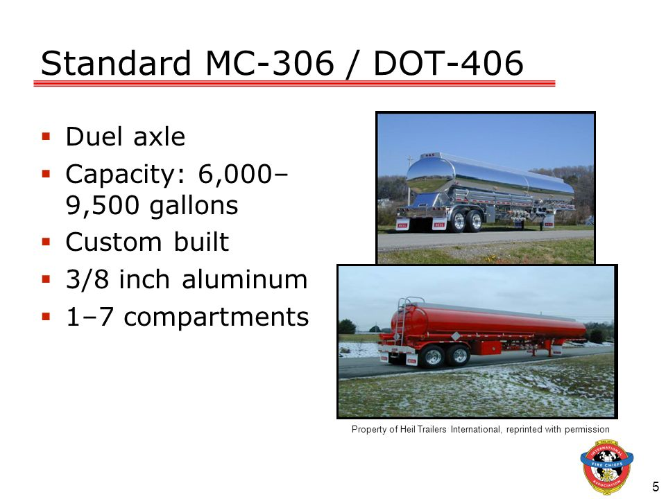 Standard MC-306 / DOT-406 Duel axle Capacity: 6,000–9,500 gallons