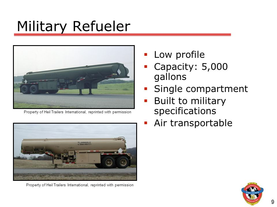 Military Refueler Low profile Capacity: 5,000 gallons