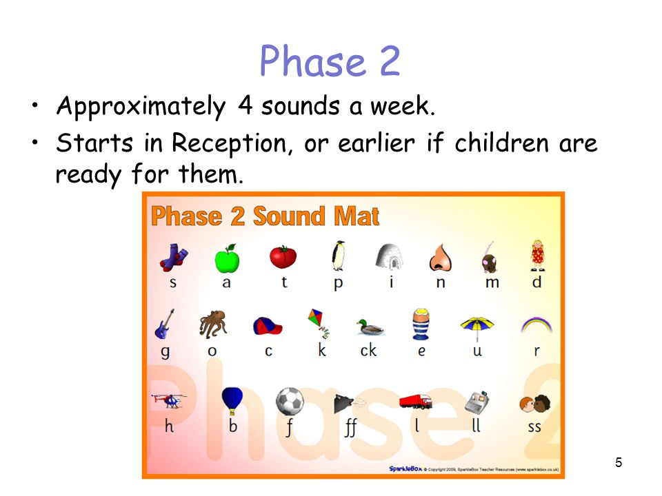 Phase 2 Approximately 4 sounds a week.