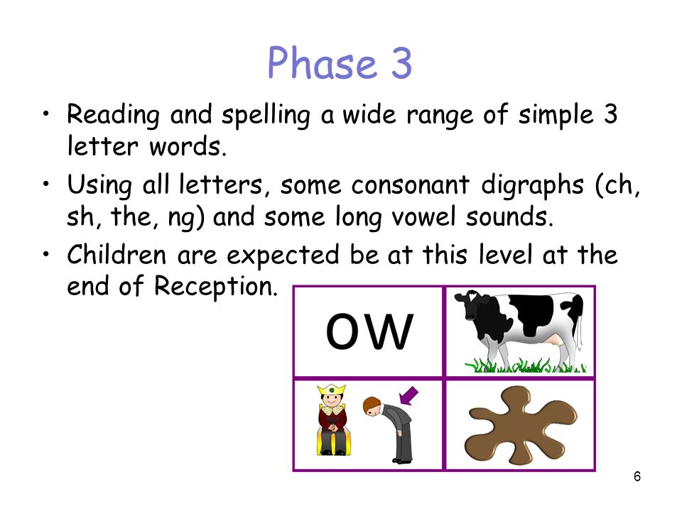 Phase 3 Reading and spelling a wide range of simple 3 letter words.