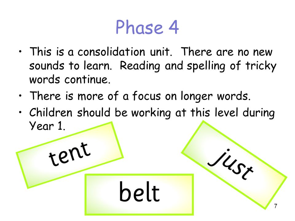 Phase 4 This is a consolidation unit. There are no new sounds to learn. Reading and spelling of tricky words continue.