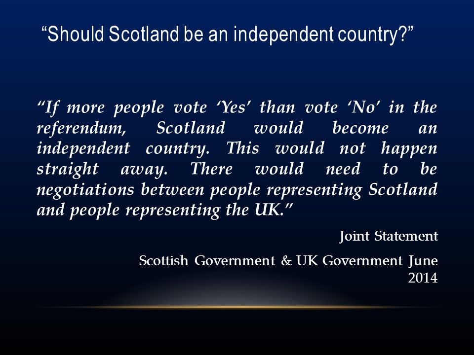 Should Scotland be an independent country