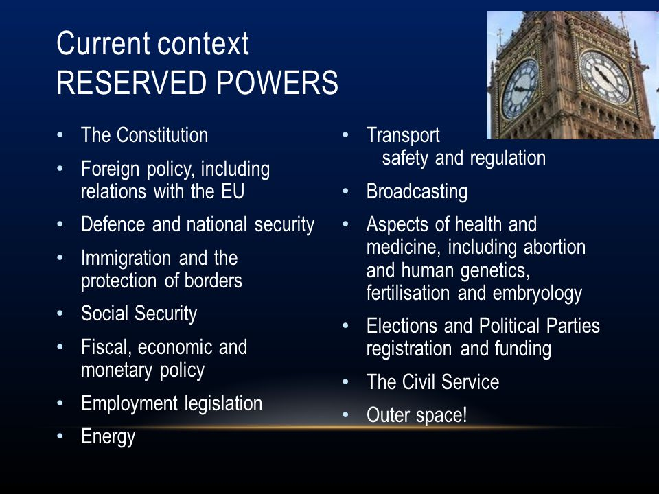Current context Reserved Powers