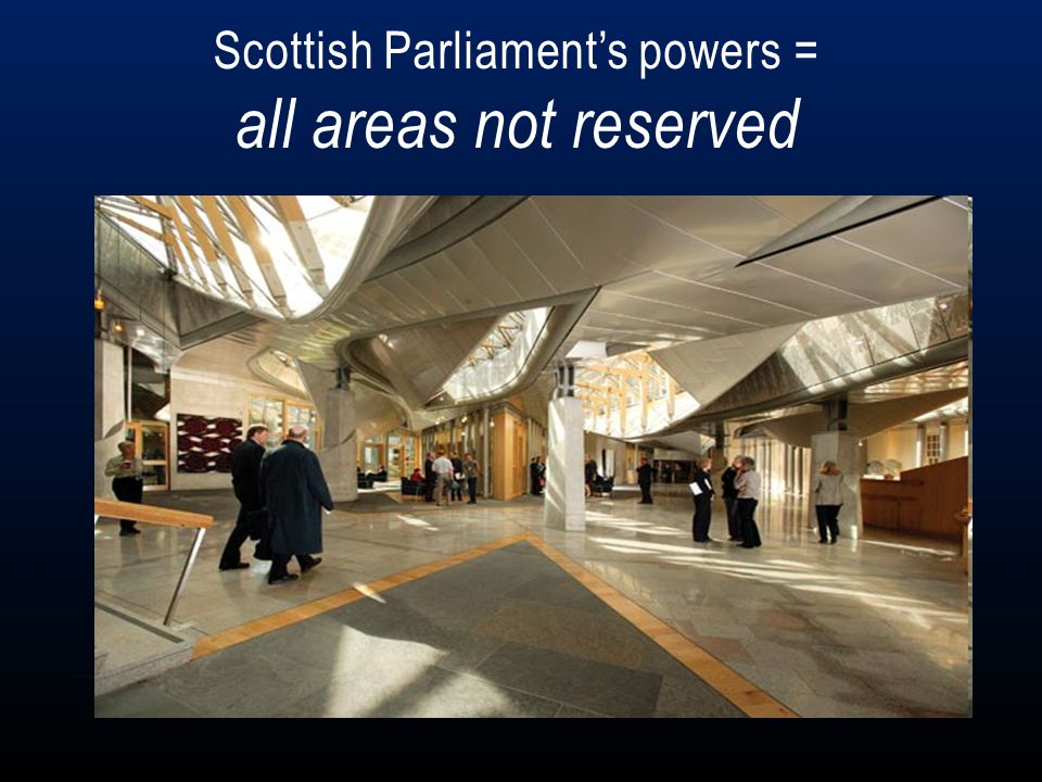 Scottish Parliament's powers = all areas not reserved