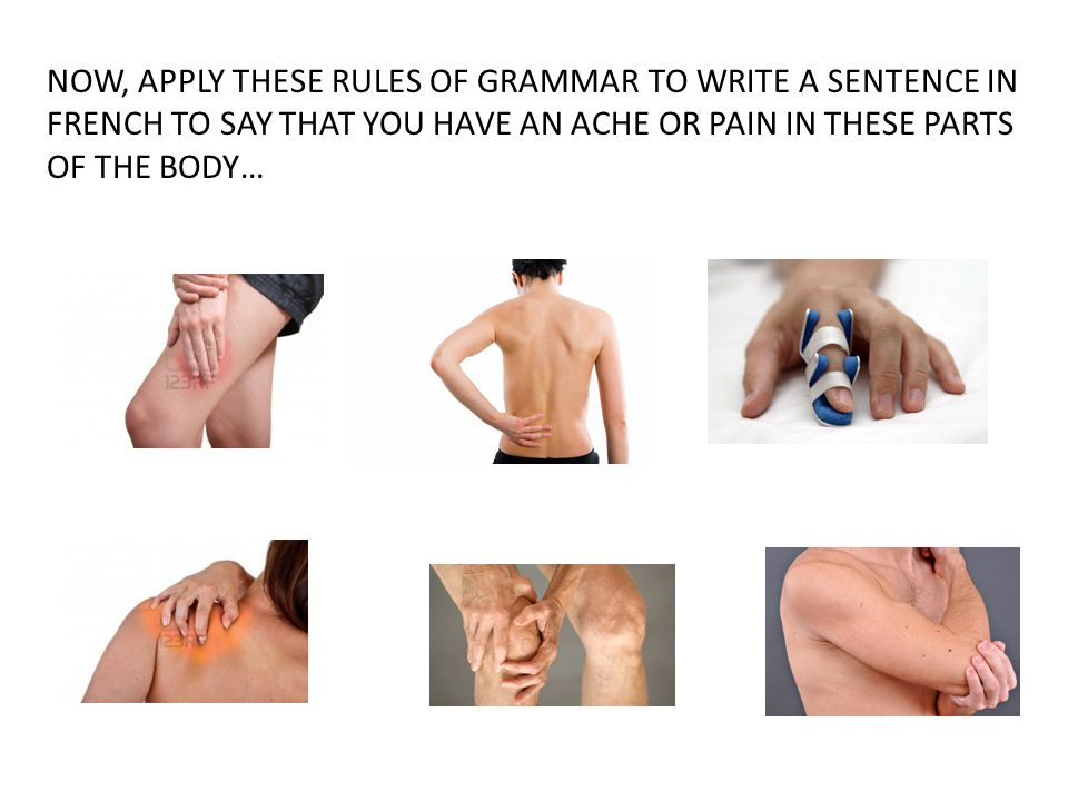 NOW, APPLY THESE RULES OF GRAMMAR TO WRITE A SENTENCE IN FRENCH TO SAY THAT YOU HAVE AN ACHE OR PAIN IN THESE PARTS OF THE BODY…