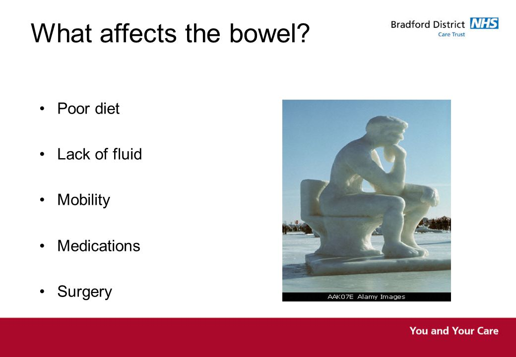 What affects the bowel Poor diet Lack of fluid Mobility Medications