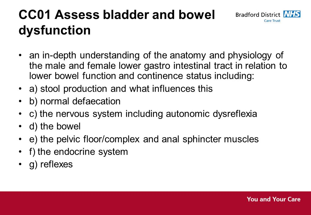 CC01 Assess bladder and bowel dysfunction