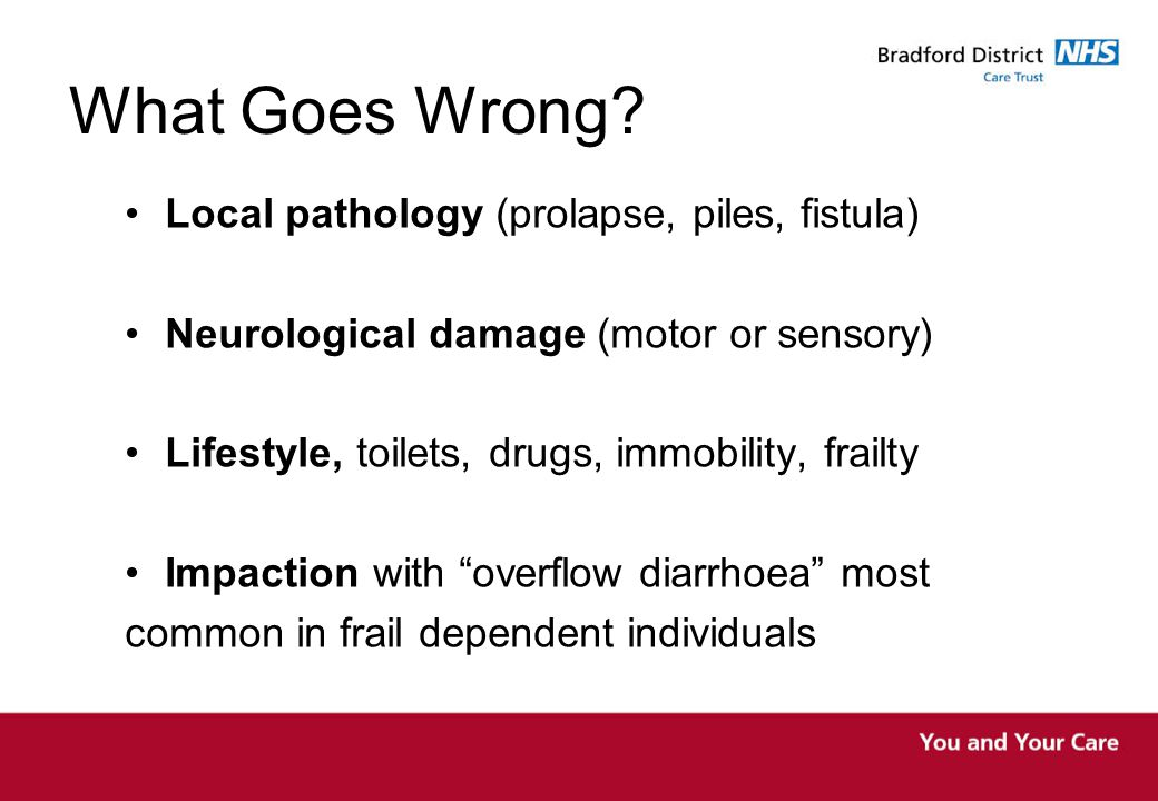 What Goes Wrong Local pathology (prolapse, piles, fistula)