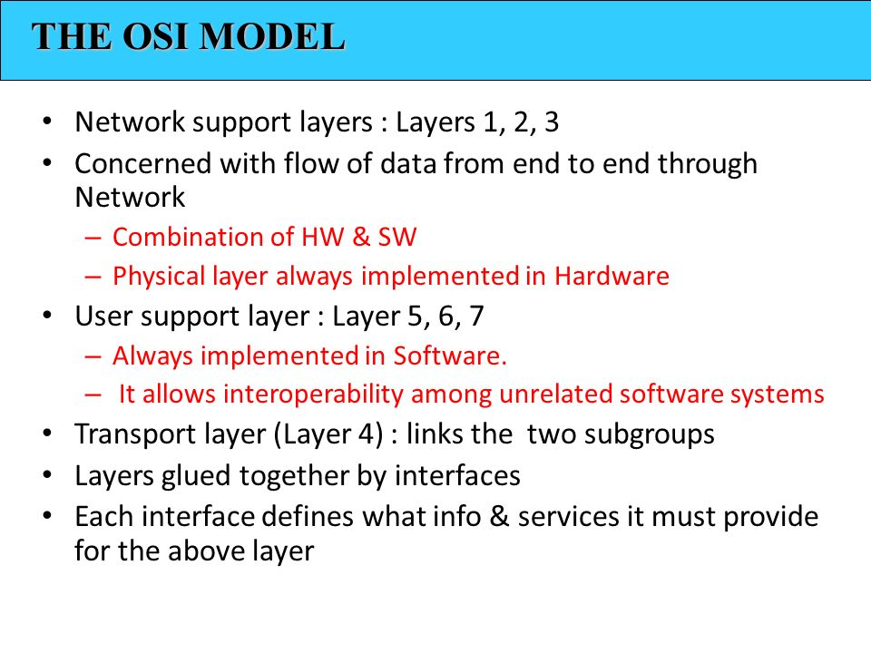 THE OSI MODEL Network support layers : Layers 1, 2, 3