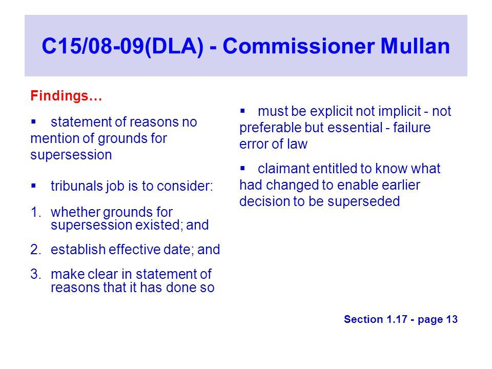 C15/08-09(DLA) - Commissioner Mullan