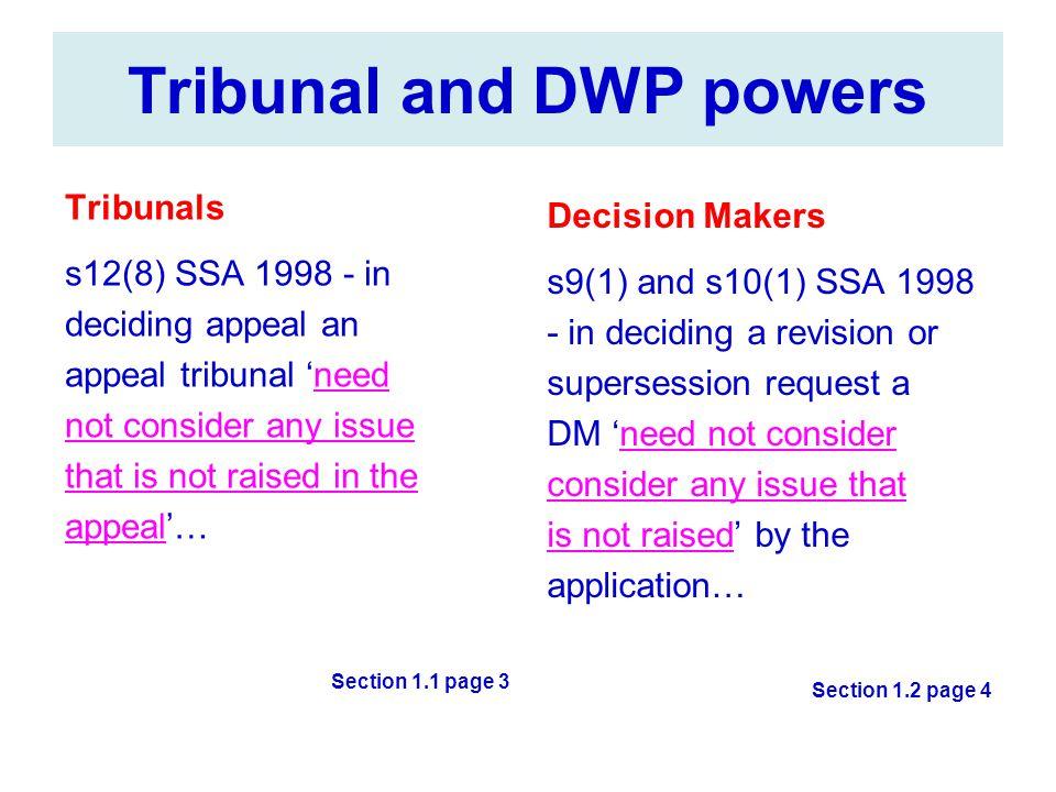 Tribunal and DWP powers