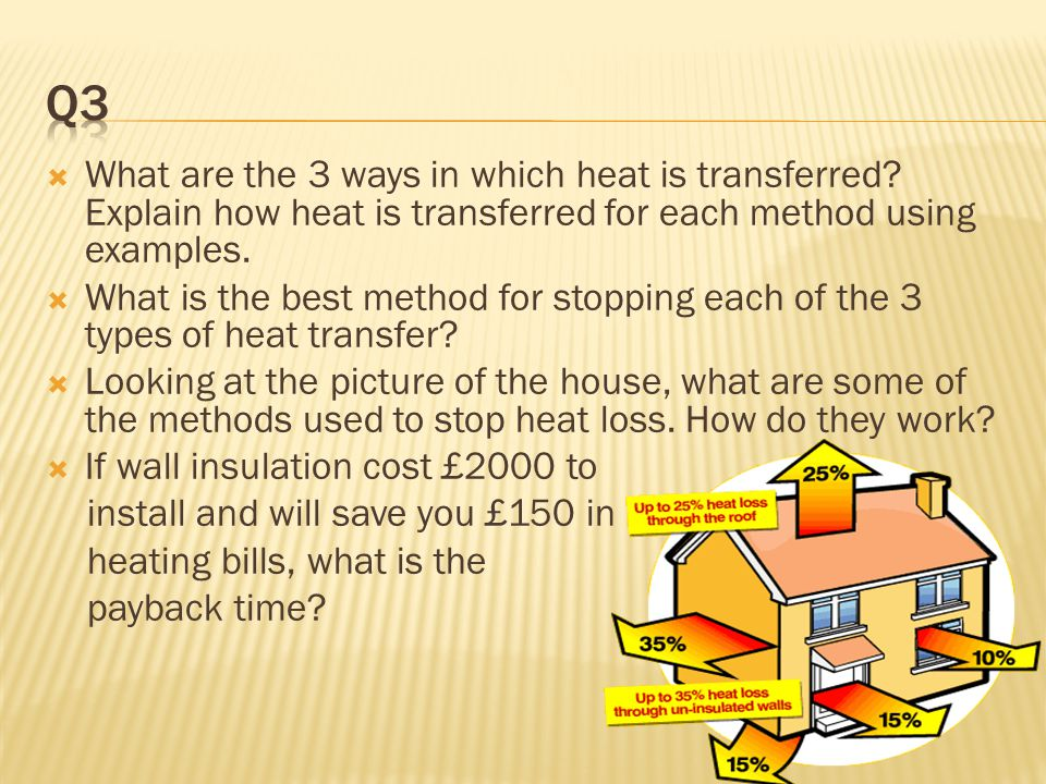 Q3 What are the 3 ways in which heat is transferred Explain how heat is transferred for each method using examples.