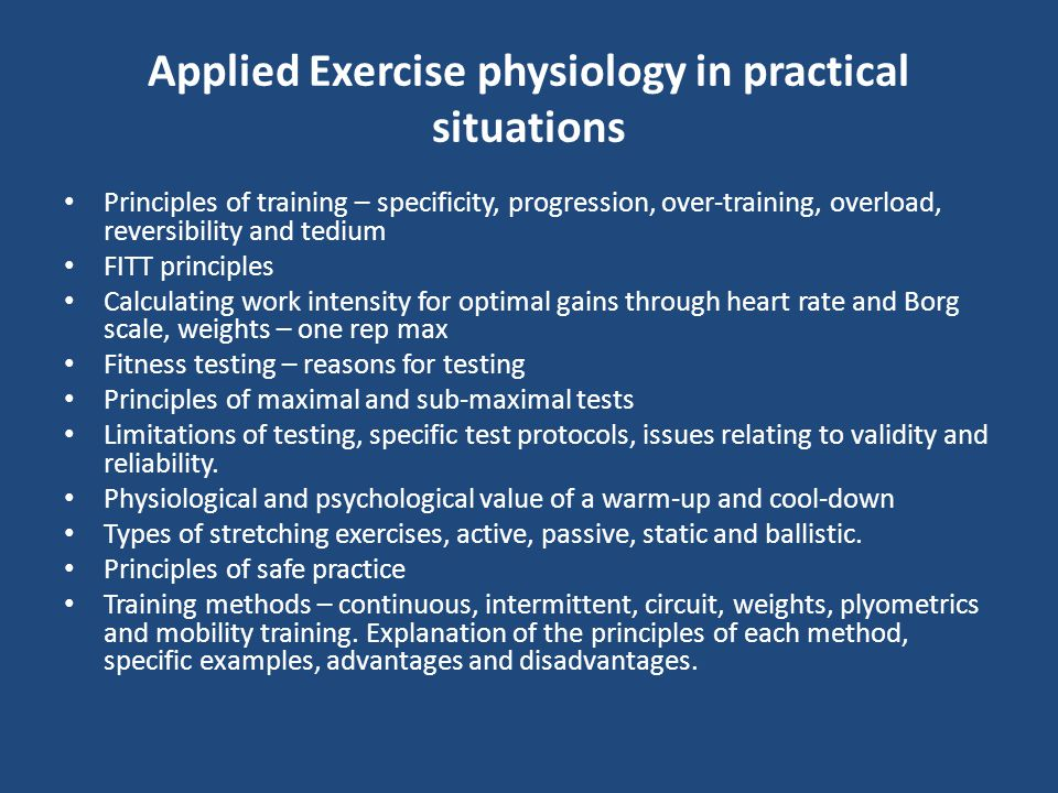 Applied Exercise physiology in practical situations
