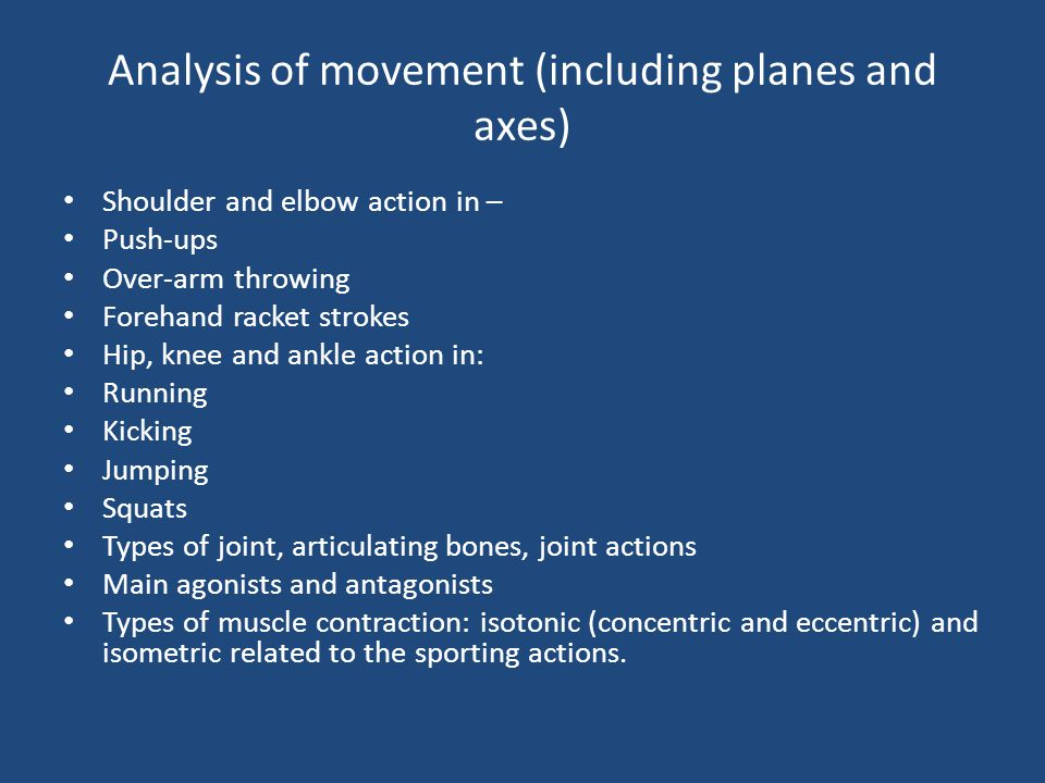 Analysis of movement (including planes and axes)