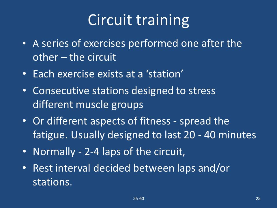 Circuit training Each exercise exists at a 'station'