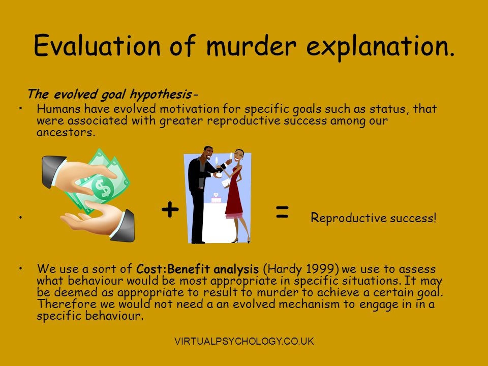 Evaluation of murder explanation.