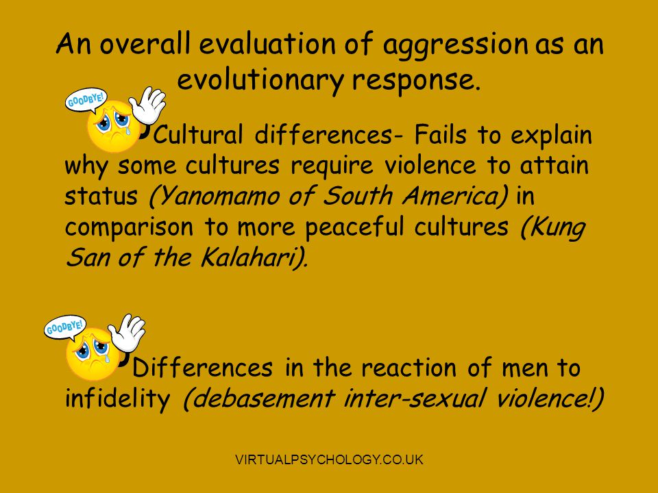 An overall evaluation of aggression as an evolutionary response.