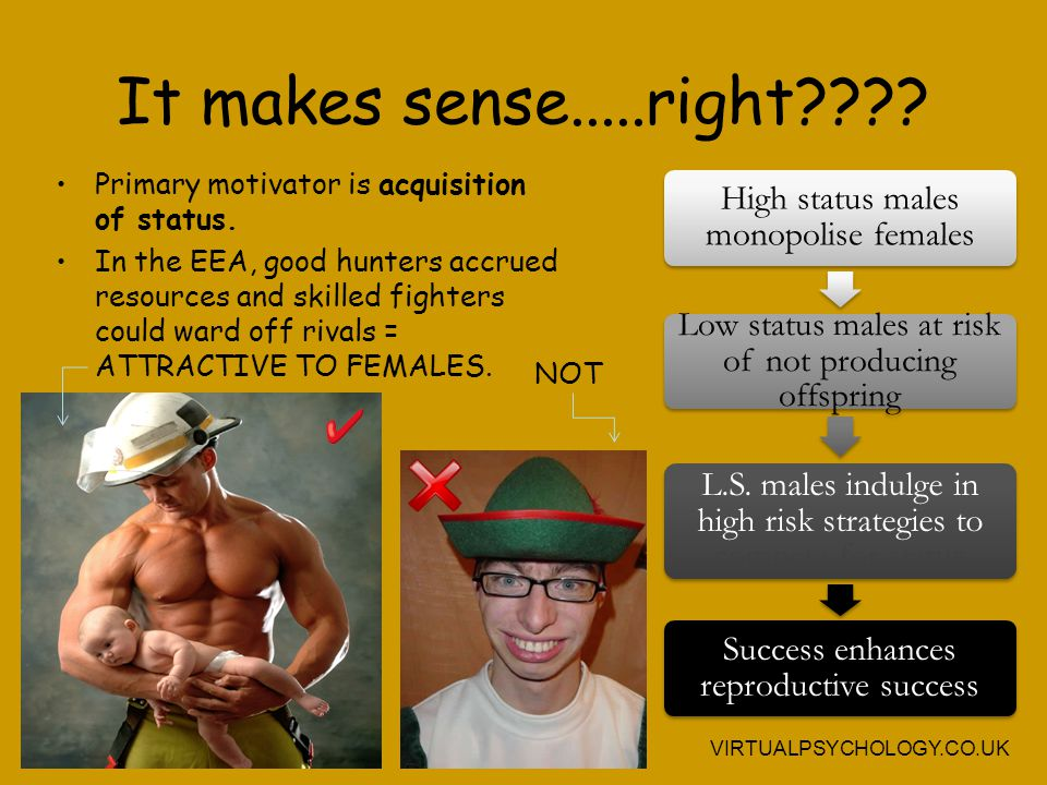It makes sense.....right High status males monopolise females