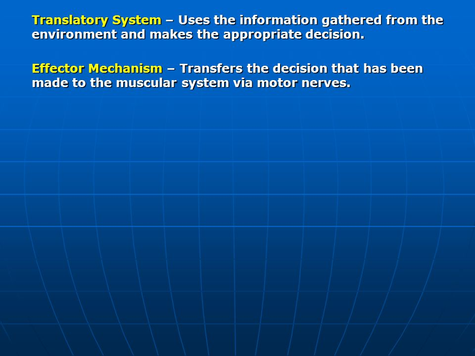 Translatory System – Uses the information gathered from the environment and makes the appropriate decision.