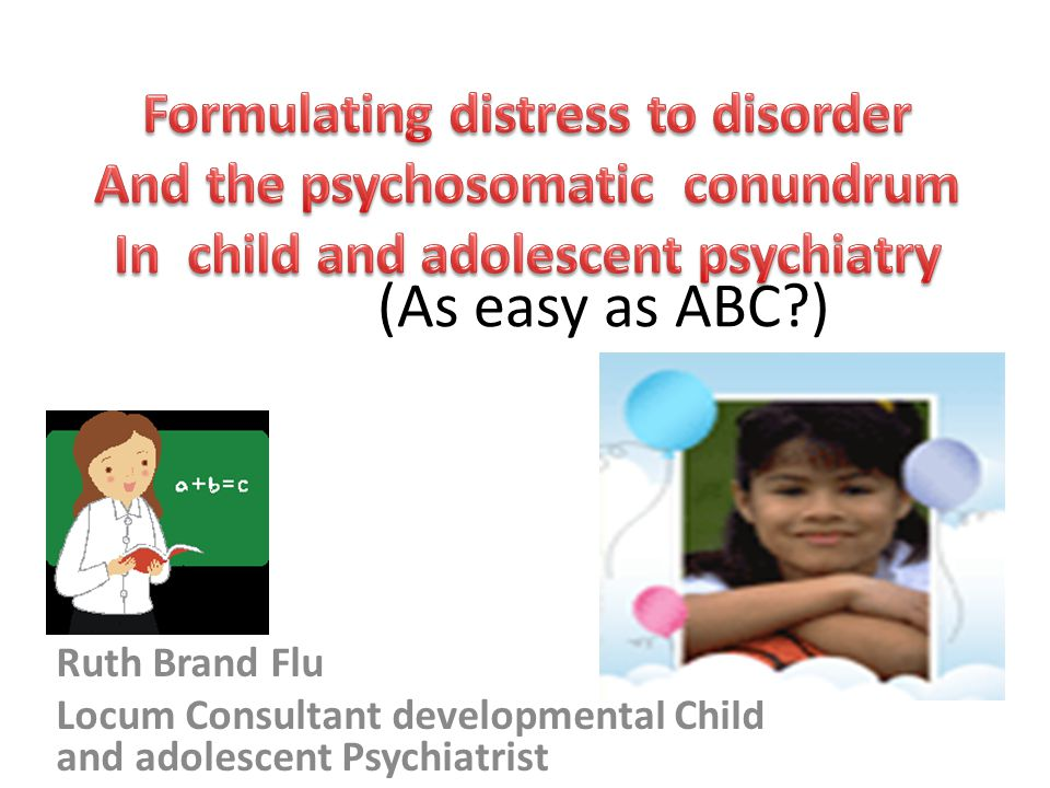 (As easy as ABC ) Formulating distress to disorder