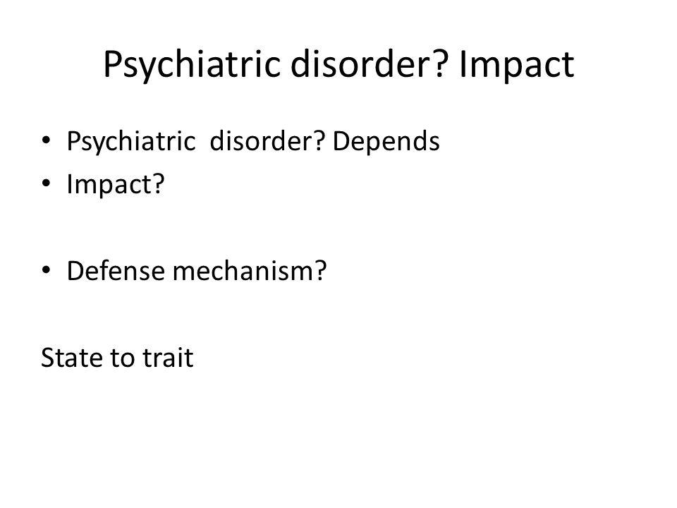 Psychiatric disorder Impact