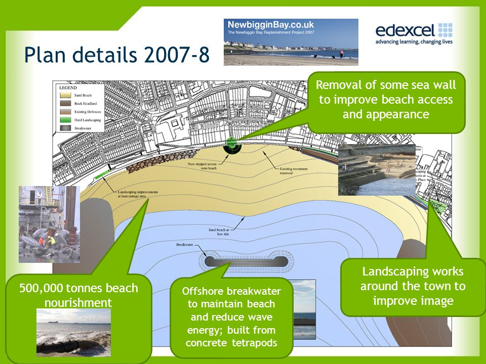 Plan details 2007-8 Removal of some sea wall to improve beach access and appearance. Landscaping works around the town to improve image.