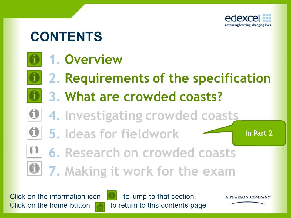 Requirements of the specification What are crowded coasts