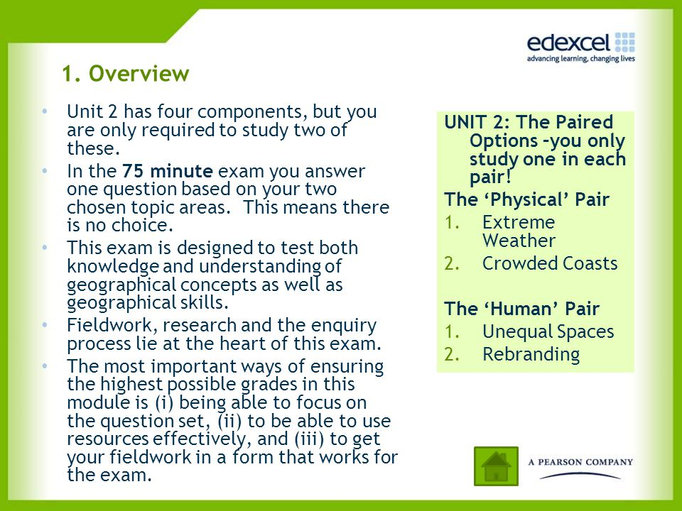 1. Overview Unit 2 has four components, but you are only required to study two of these.