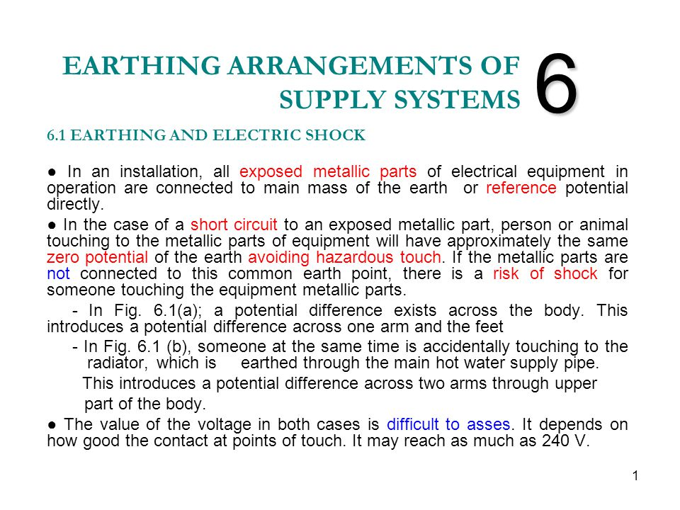 EARTHING ARRANGEMENTS OF SUPPLY SYSTEMS