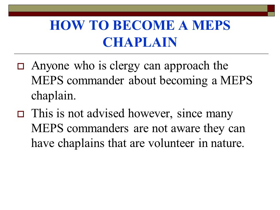 HOW TO BECOME A MEPS CHAPLAIN