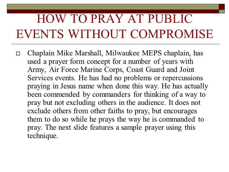 HOW TO PRAY AT PUBLIC EVENTS WITHOUT COMPROMISE