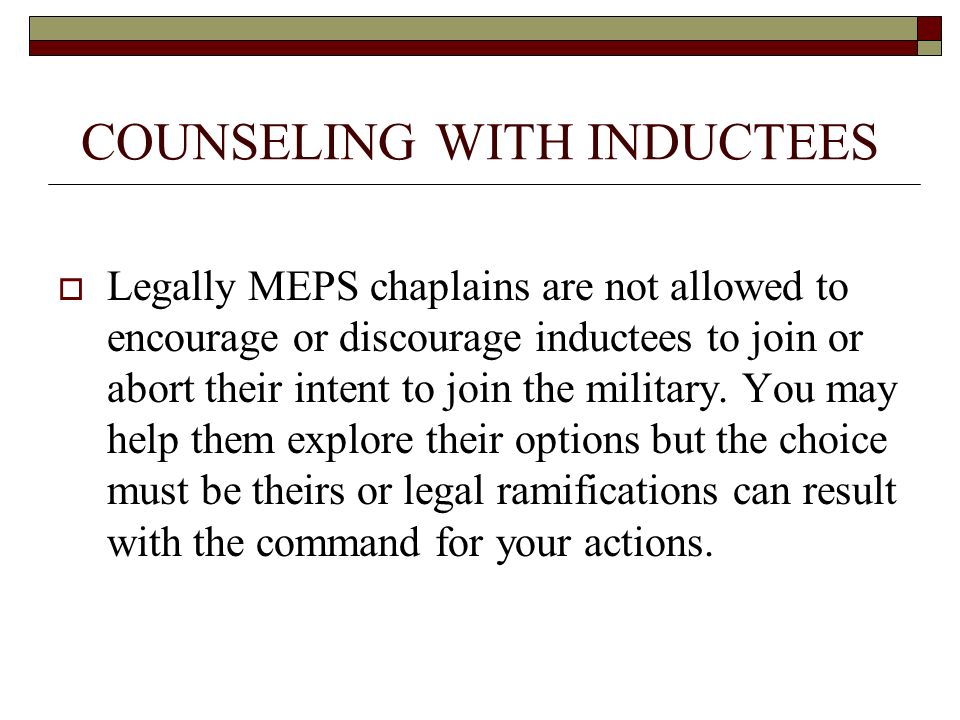 COUNSELING WITH INDUCTEES